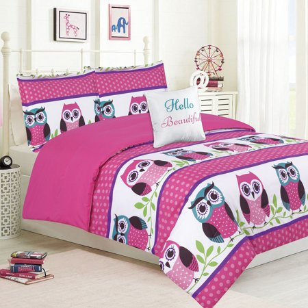 Girls Bedding Twin 4 Piece Comforter Bed Set, Owl Pink Teal Purple (Light Purple Bedding Twin)
