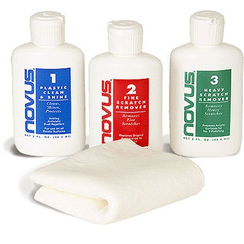 Novus Cleaning and Scratch Remover Kit with Microfiber Cleaning Cloth - 2 Ounce Set