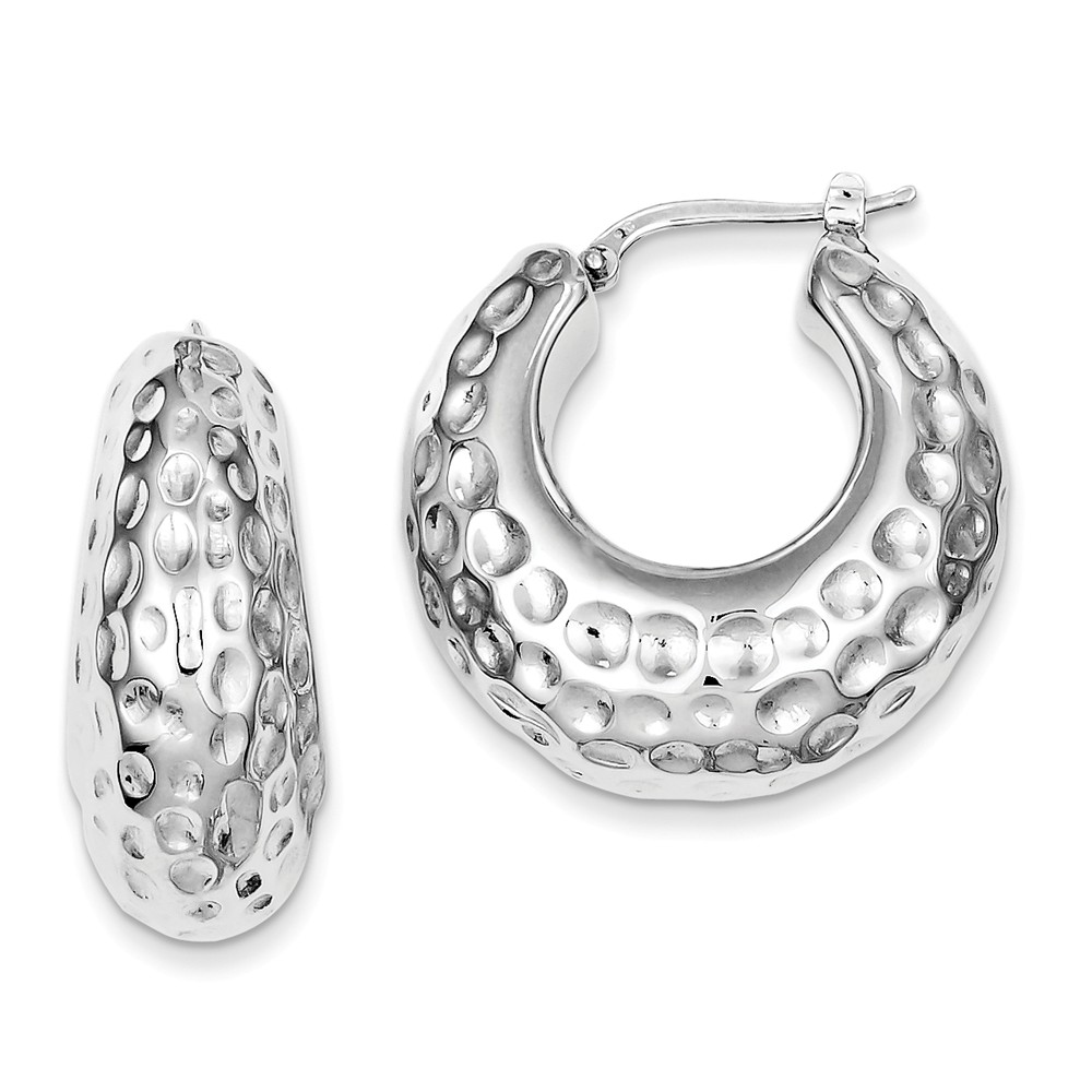 Sterling Silver Polished Rhodium Plated Hammered 0.4IN Hoop Earrings (1IN x 1.1IN )