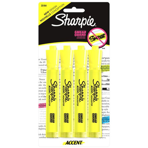 Sharpie Tank Style Highlighters, Chisel Tip, Assorted, 4 Pack