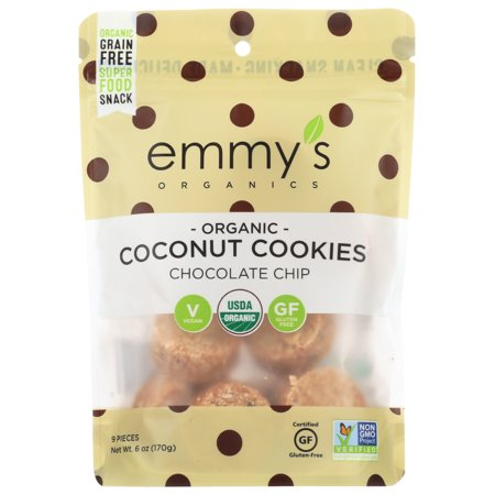 Emmy's Organics Chocolate Chip Coconut Cookies, 6 Oz, Pack Of 8 Organic Chocolate Gingers