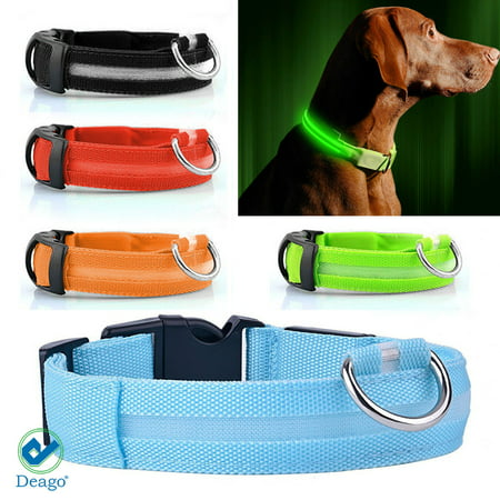 Collar Safety Light - Deago LED Dog Collar Safety USB Rechargeable Flashing Light Pet Leash Adjustable For Party Festival Glowing Reflective