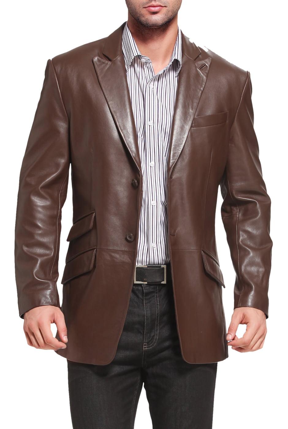 "Men's ""Noah"" Peaked-Lapel Lambskin Leather Blazer - Big & Tall"