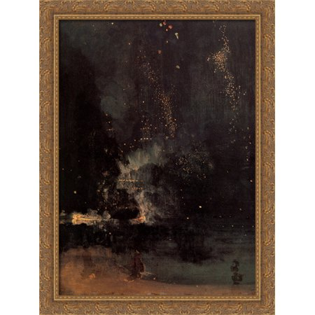 Nocturne in Black and Gold: The Falling Rocket 28x38 Large Gold Ornate Wood Framed Canvas Art by James Abbott McNeill Whistler