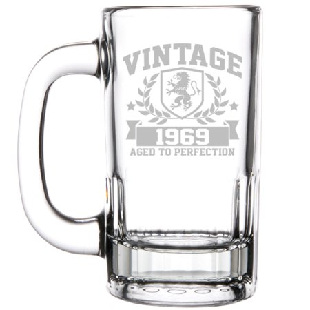 12oz Beer Mug Stein Glass 50th Birthday Vintage Aged To Perfection 1969