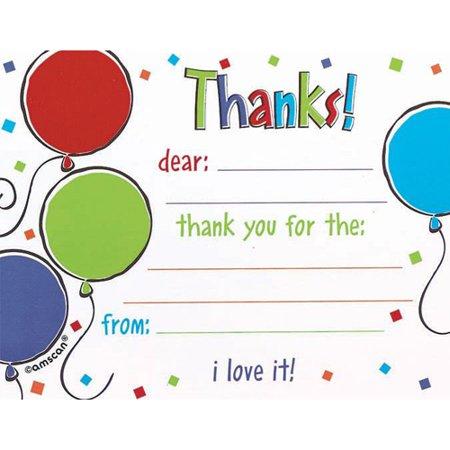 Happy Birthday 'Balloon Scribble' Thank You Notes w/ Envelopes (8ct) - Thank You Balloon