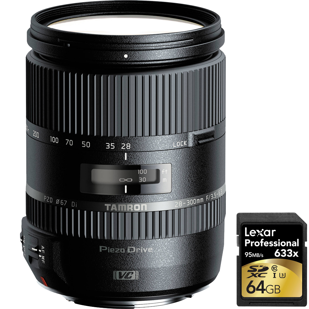 Tamron 28-300mm F 3.5-6.3 Di VC PZD Lens for Canon With Lexar 64GB Professional 633x SDXC Class 10 UHS-I U3 Memory Card... by Tamron