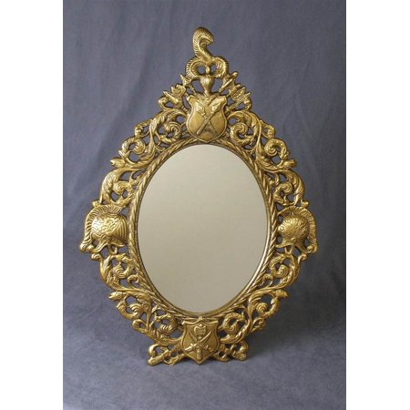Oval Mirror w Frame in Antique Brass Finish