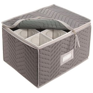 Quilted Microfiber Stemware Storage Chest 12 Sections, Grey