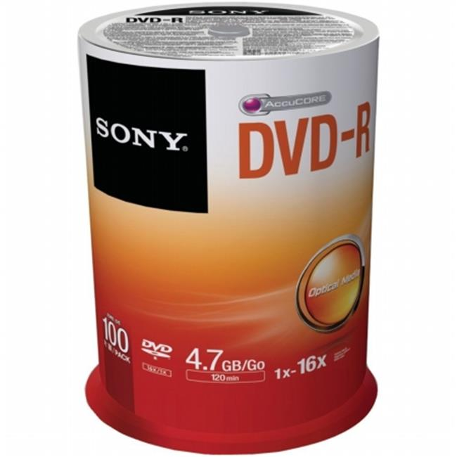 Sony Corporation 100DMR47SP DVD-R Discs, 4. 7GB, 16x, Spindle