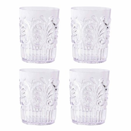 Mainstays Clear Double Old Fashioned Acrylic Tumbler Textured Design, Set of 4, 14-Ounce (Brown Double Old Fashioned)