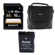 Focus Digital Camera Accessories Bundle with Sony 16GB SDHC Memory Card, EN-EL14 Rechargeable Battery and Vivitar Coco Series Small Gadget Camera Bag