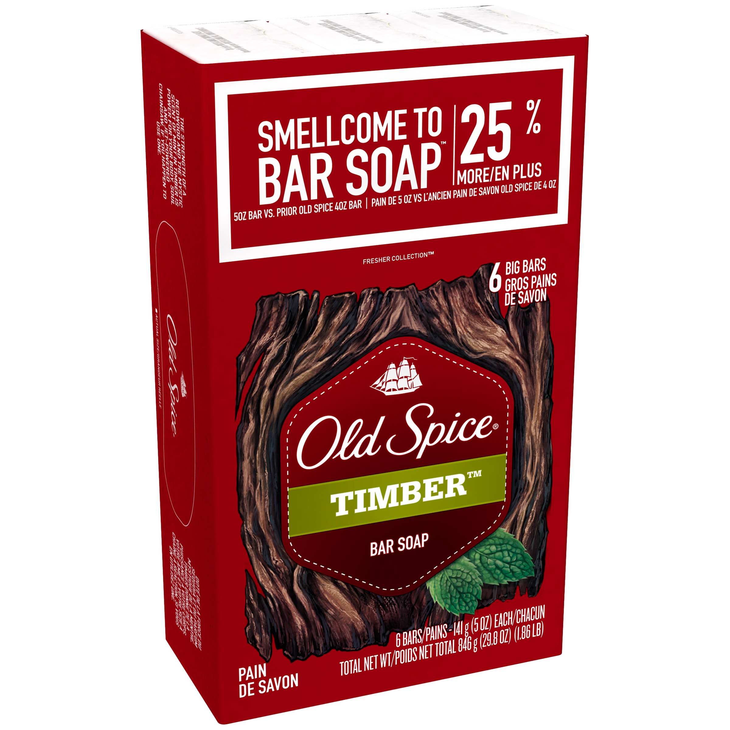 Old Spice Fresher Collection Timber Scent Mens Bar Soap 5 oz Each, 6 Bars