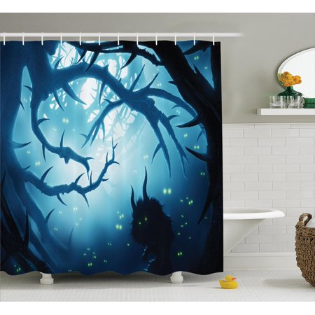 Mystic House Decor Shower Curtain Set Animal With Burning Eyes In Dark Forest At Night Horror