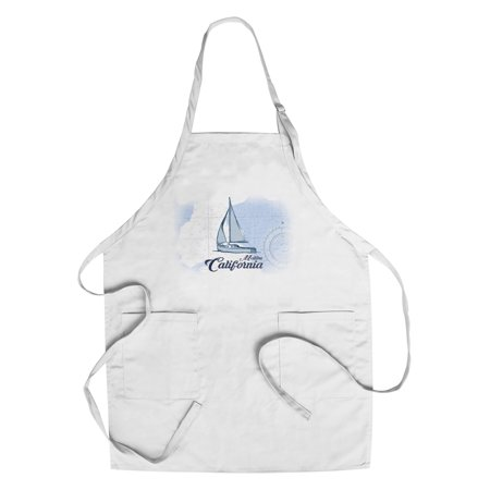 Malibu  California   Sailboat   Blue   Coastal Icon   Lantern Press Artwork  Cotton Polyester Chefs Apron
