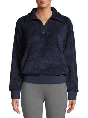 Athletic Works Women's Athleisure 1/4 Zip Sherpa Pullover