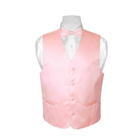 BOY'S Dress Vest & BOW Tie Solid PINK Color BowTie Set (Bow Tie With A Vest)