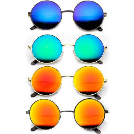 2 Pc Retro Vintage Round Sunglasses Shades John Lennon Frame Color Mirror Lens