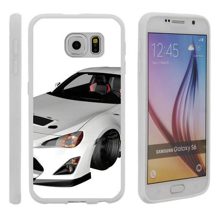 Samsung Galaxy S6 G920, Flexible Case [FLEX FORCE] Slim Durable TPU Sleek Bumper with Unique Designs - White Racecar - Race Car Design