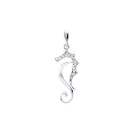 10kt White Gold Womens Round Diamond Sea Horse Nautical Animal Pendant 1/20 Cttw Gift for Christmas White Gold Diamond Horse