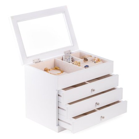 Bey-Berk International BB684WHT White Wood Jewelry Case with 3 Drawers & Glass See-Thru Top - image 1 of 1