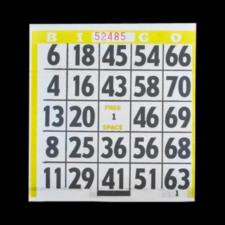 1 on Large Print Easy Read Bingo Paper Cards - Yellow - 500 cards