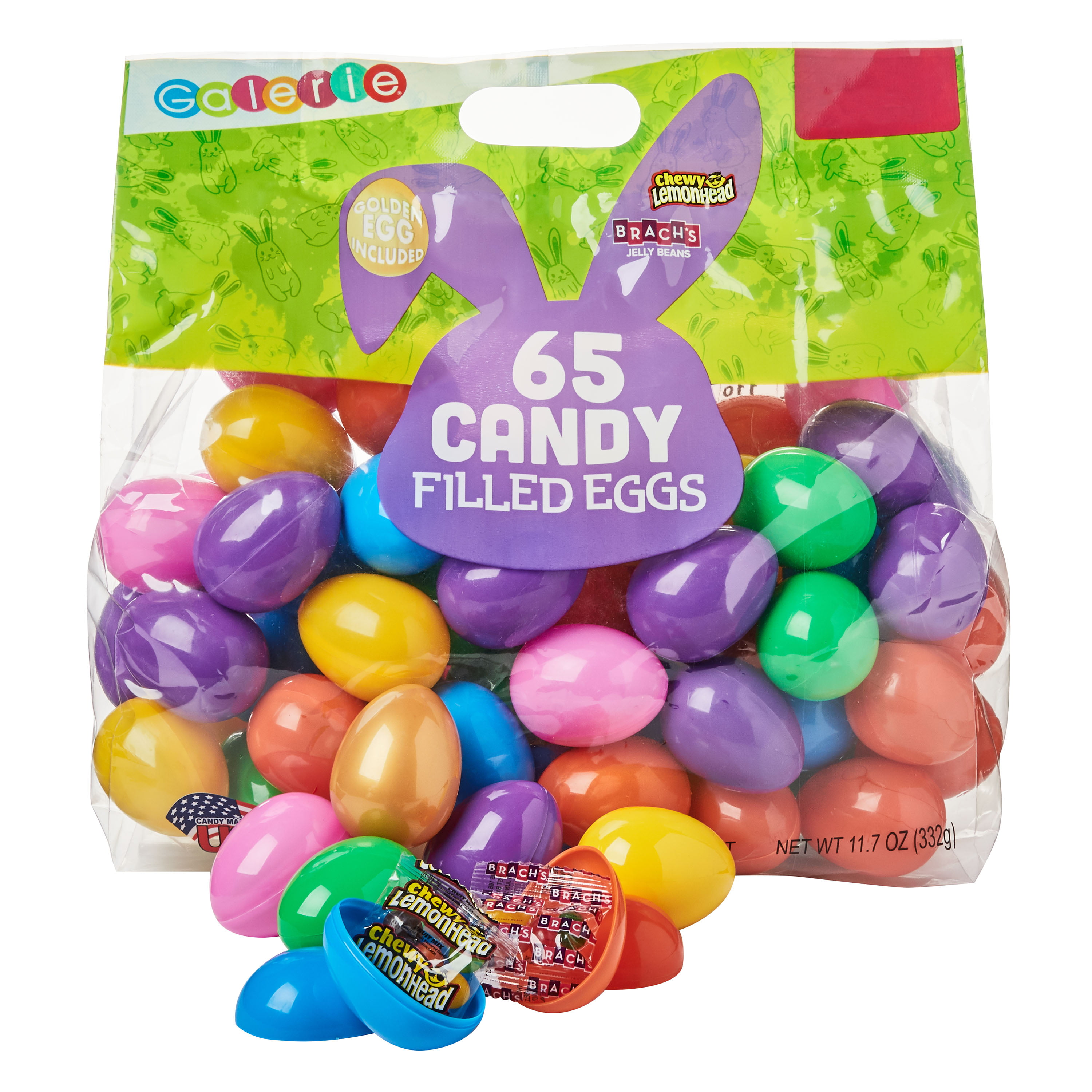 Galerie Egg Hunt with Brach's Jelly Beans & chewy Lemonheads Candy with Stickers, 65ct