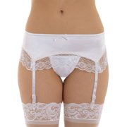 Satin Garter Belt Lace Trim 3 Color choices Black White or Red
