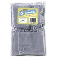 Bry Belly MORG-007 Lot of 50 Silver Drawstring Organza Storage Bags