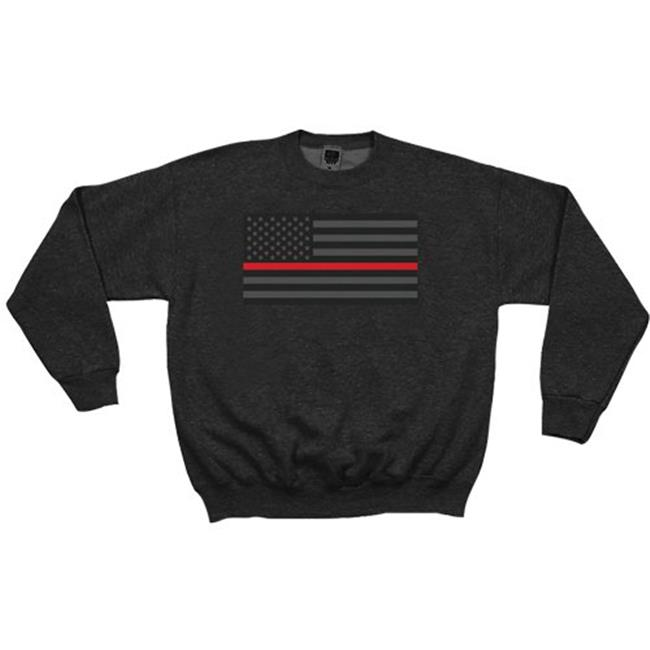 Fox Outdoor 64-6483 XL USA Flag Thin Red Line & Black Crewneck Sweatshirt, Extra Large - image 1 of 1