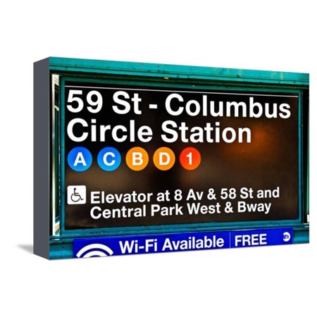 Subway Station Signs, 59 Street Columbus Circle Station, Manhattan, NYC, White Frame Stretched Canvas Print Wall Art By Philippe Hugonnard ()