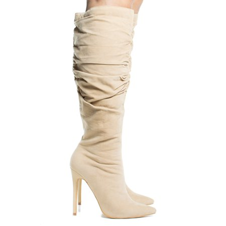 Nicky by Shoe Republic, High Heel Stiletto Dress Boots w Slouchy Shaft & Zipped Up Closure - Boots Dress Up