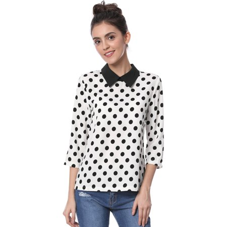 - Women's' Contrast Peter Pan Collar Polka Dots Blouse top M White