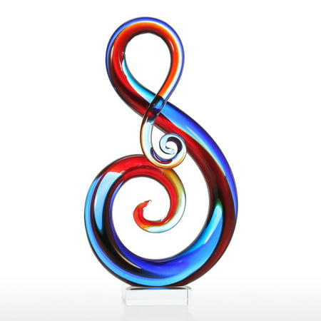 Tooarts Music Note Glass Sculpture Home Decor Abstract Ornament Gift Craft Decoration - image 1 of 7