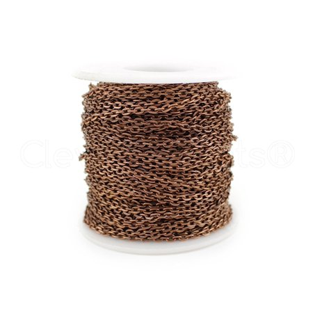 CleverDelights Cable Chain Roll - 30 Feet - Antique Copper Color - 3x4mm Link