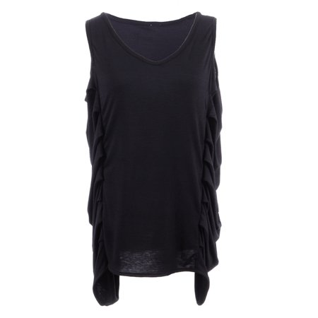 S/M Fit Black Drooping Side Ruche Drape Side Detail Tunic Muscle Top