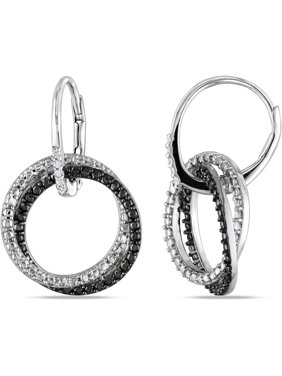 505012bb527a14 Product Image Diamond Accent Sterling Silver Leverback Circle Earrings