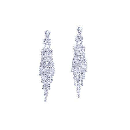 Wedding Earring Silver Rhinestone Chain Dagnel Earrings (Wedding Earring)