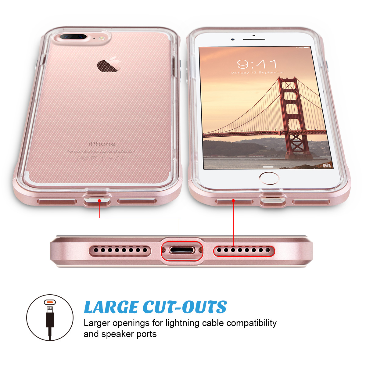 02eee3de99 ULAK Reinforced Clear Hybrid Case for Apple iPhone 7 Plus, Gold -  Walmart.com