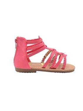 bebe Girls Toddler/Little Kid Strappy Ankle High Back Zipper Gladiator Sandals With Braided Accent Size 8 Cognac/Gold