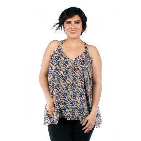 Womens Plus Size Colorful Print Double Strap Chiffon Blouse Top YPT-6820