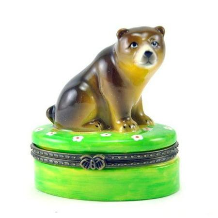 - Brown Bear in Field of Wild Flowers Hinged Porcelain Trinket Box