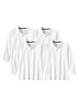 Wonder Nation Boys 4-18 School Uniform Long Sleeve Double Pique Polo Shirt, 4 Pack Value Bundle