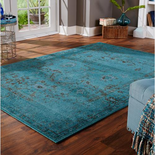 Style Haven Over-dyed Distressed Traditional Teal/ Grey Area Rug (3'10 x 5'5)