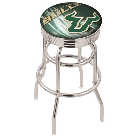 South Florida 25 Inch L7C3C Chrome Double Ring With Ribbed Accent Bar Stool Double Adjustable Bar Stool