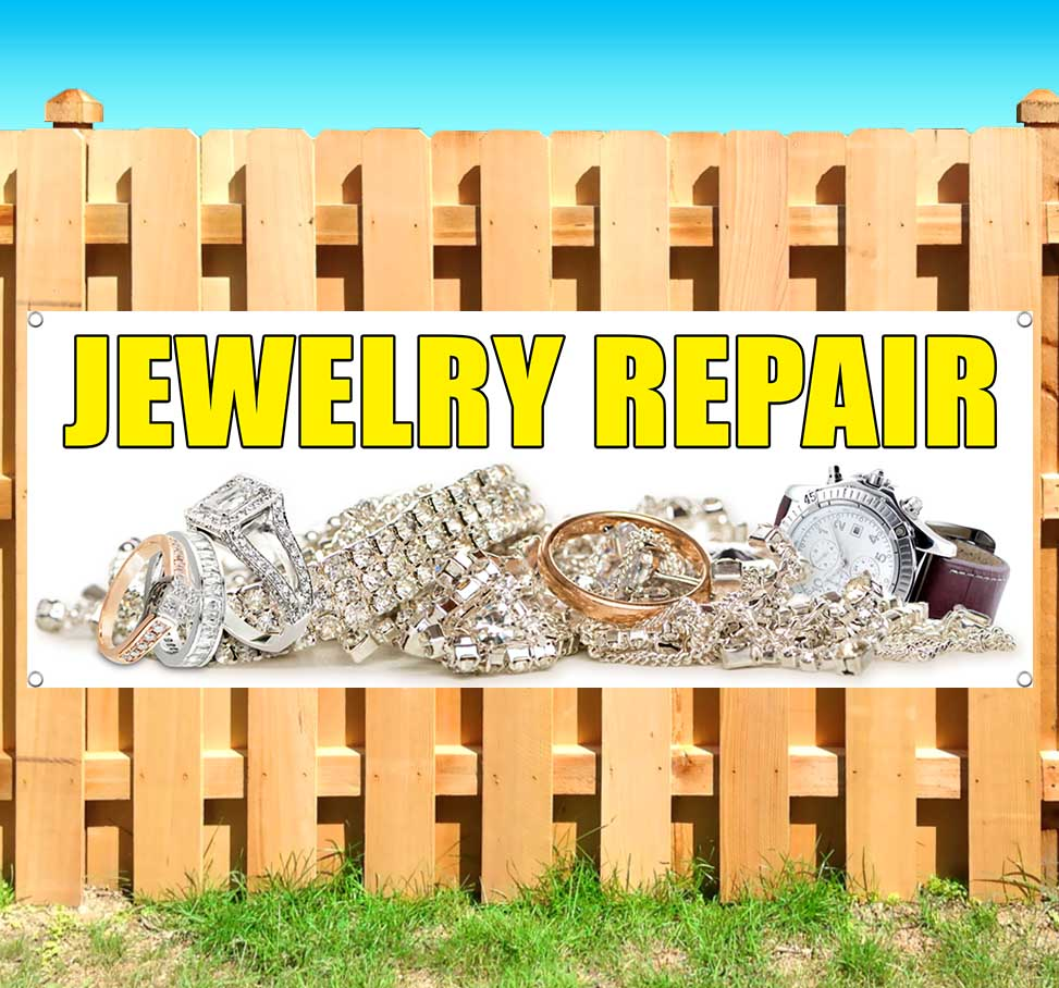 Store Jewelry Repair 13 oz Heavy Duty Vinyl Banner Sign with Metal Grommets Many Sizes Available New Advertising Flag,