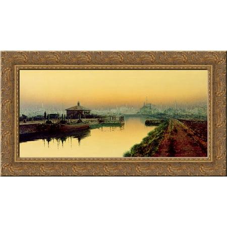 Knostrop Cut  Leeds  Sunday Night 24X14 Gold Ornate Wood Framed Canvas Art By John Atkinson Grimshaw