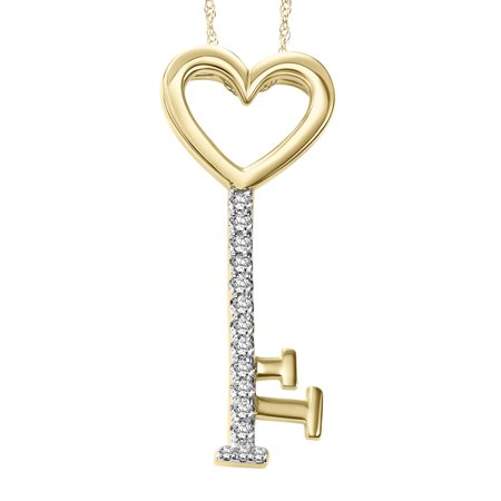 Keepsake Secret Treasure 1/10 cttw 10kt Yellow Gold Diamond Key (Secret Keepsake)