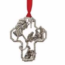 Ornament-Nativity Cross w/Gift Tag (Matthew 1:21 KJV) (Ornaments Of Faith)-Pewter