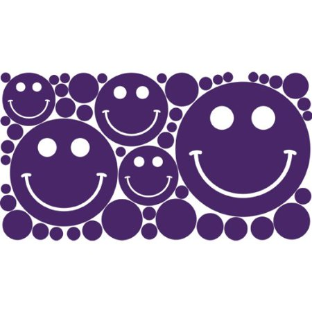 Polka Dots Smiley Face Removable Wall Stickers Grape One 12 x 24 Shee